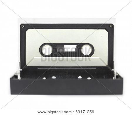 Early 70's cassette tape standing upright in a open cassette case, isolated on white. (cassette is actually from the seventies, has dust and grime)