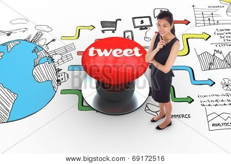 The word tweet and thoughtful businesswoman against digitally generated red push button