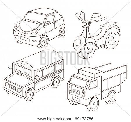 set of transport toys (vector illustration for coloring book)