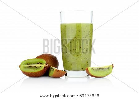 Group Of Sliced Kiwi With Juice Studio Shot White Background