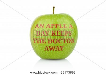 Studio Shot Of Green Apple With Inscription Doctor Away