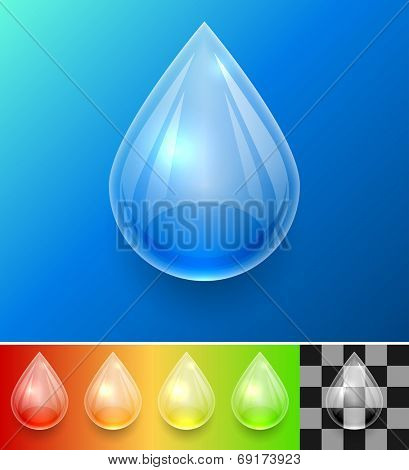 Transparent water drop template isolated on color background with samples.