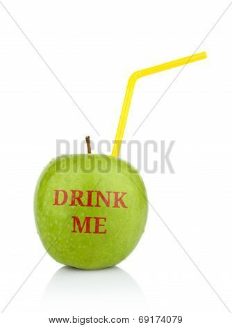 Studio Shot Of Green Apple With Inscription Drink Me Isolated