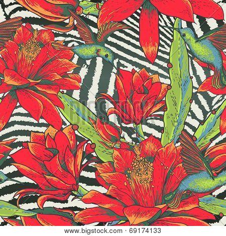 Tropical Seamless vintage floral pattern