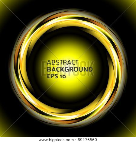 Abstract light yellow swirl circle on black background