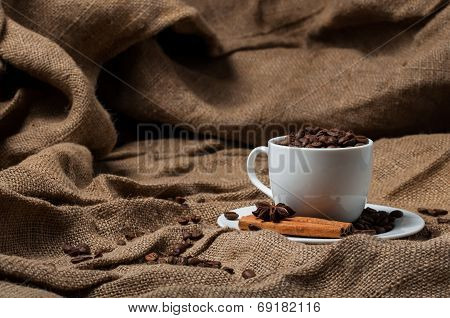 Coffee beans, cinnamon and aniseed in coffee cup