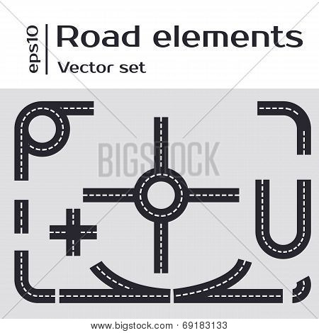 Road Illustration with a set of asphalt road.