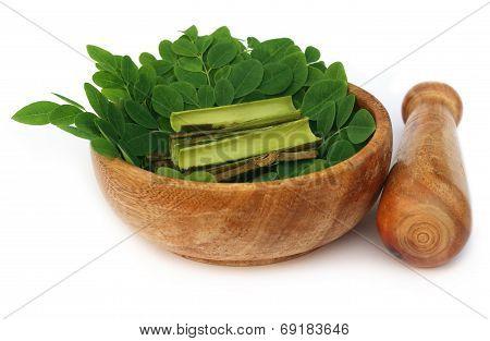 Moringa Leaves And Bark And Mortar Pestle