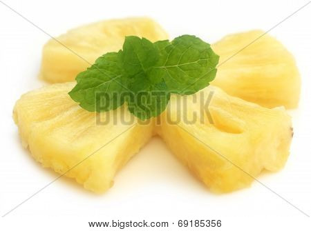 Sliced Pineapple With Mint Leaves