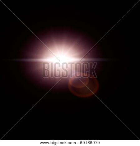 Sun flare, lens flare effect isolated on black background. Can be added to photos by overlaying in screen mode.