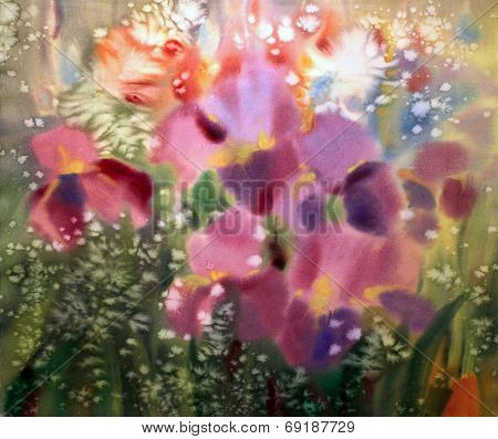 Abstract Watercolor Painting Of The Iris Flowers