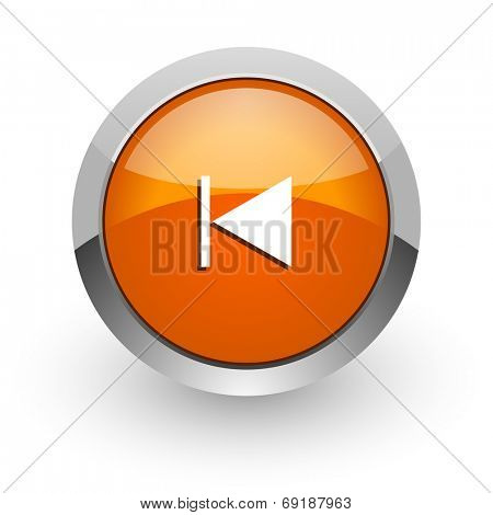 prev orange glossy web icon