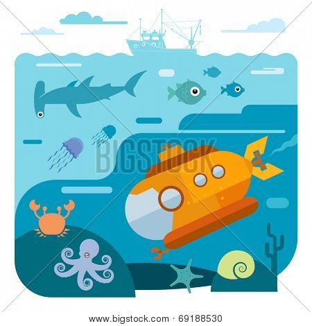 Flat vector illustration of underwater sea life. Illustration of submarine diving and exploring sea animals - shark, octopus, crab, starfish.