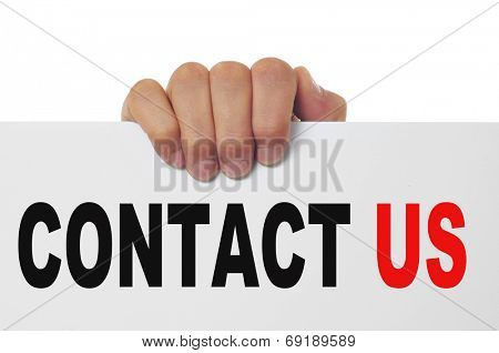 man hand holding a signboard with the text contact us written in it
