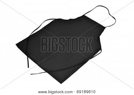 a black kitchen apron on a white background