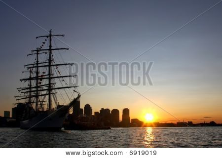 Tall Ship During Sail Boston