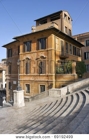 Old House And Part Of The Spanish Steps, Rome