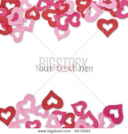 Various Hearts On White Background For Border And Gift Card