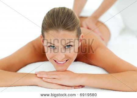 Peaceful Woman Enjoying A Massage