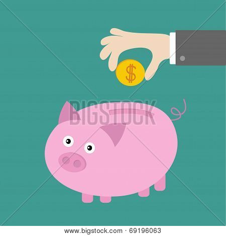 Hand And Piggy Bank With Dollar Coin. Card. Flat Design.