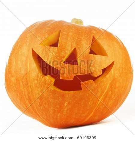 Funny Jack O Lantern halloween pumpkin isolated on white background
