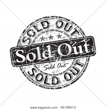 Sold out grunge rubber stamp