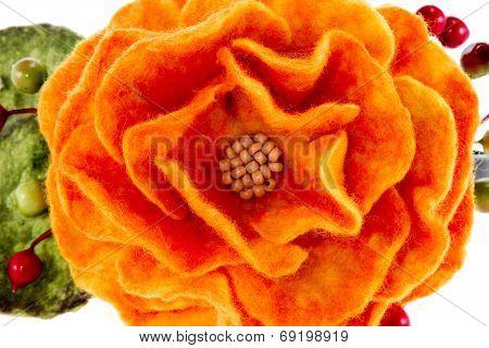 Orange Rose Flower Image Made From Wool