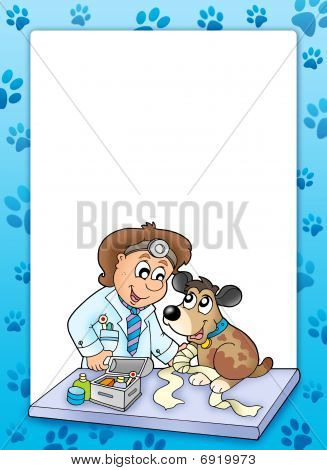 Frame With Sick Dog At Veterinarian