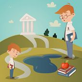 pic of hilltop  - Back To School vector illustration with a cute little boy with a textbook under his arm standing on a path leading to a college building on a hilltop watched by his teacher as he walks to school - JPG