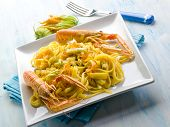 pic of norway lobster  - pasta with norway lobster zucchinis flower and saffron - JPG
