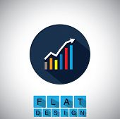 image of profit  - flat design icon of rising graph with up arrow  - JPG