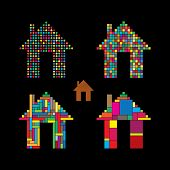 foto of house representatives  - colorful abstract house vector icons of dots squares  - JPG
