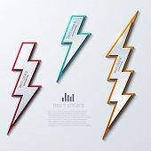 picture of lightning bolts  - Vector lightning bolt banners set - JPG