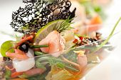 picture of buffet lunch  - Buffet Seafood Salad on White Dish - JPG