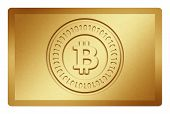 image of bronze silver gold platinum  - Golden texture with bitcoin logo stamp on it and clippingpath for white removal - JPG