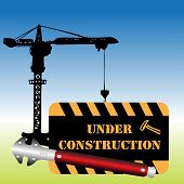 stock photo of hook  - Abstract colorful background with the warning under construction written on a blackboard and hanging in the hook of a crane - JPG