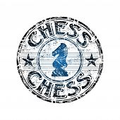 picture of knights  - Blue grunge rubber stamp with chess knight symbol in the middle and the word chess written inside the stamp - JPG