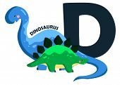 stock photo of letter d  - the letter d for the animal dinosaurus - JPG