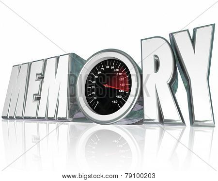 Memory word in 3d letters with a speedometer and needle racing to illustrate improving mental health and recall of memories