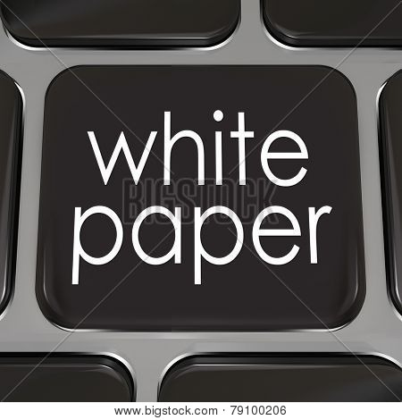 White paper words on a black computer keyboard key or button to download a document or case study with information on how to achieve a goal, complete a task or attain success