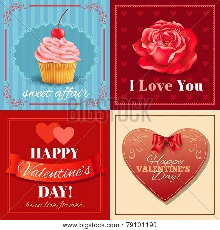 Valentines Day cards with heart shape, rose and cupcake. Vector eps 10.