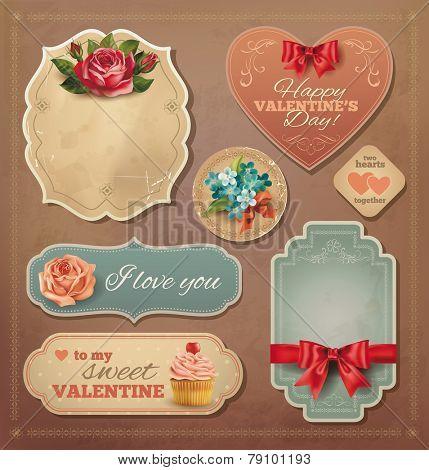 Valentine vintage cards set. Vector eps 10.