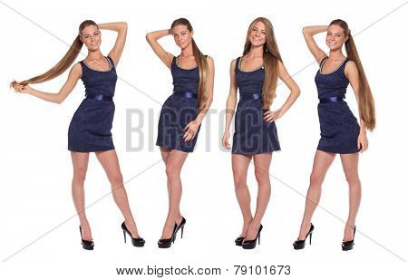 Collage, four women, Full length of a beautiful young lady in dress