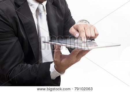 Business Man Working On Computer Tablet Touching Screen With White Copy Space Use For Technology And