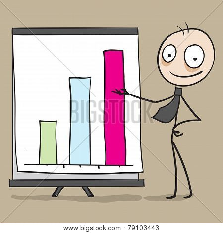 Businessman showing chart in presentation