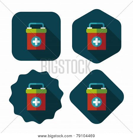First Aid Kit Flat Icon With Long Shadow,eps10