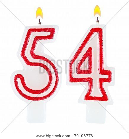 Birthday Candles Number Fifty Four Isolated