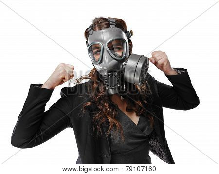 Young Adult Woman And Gas Mask