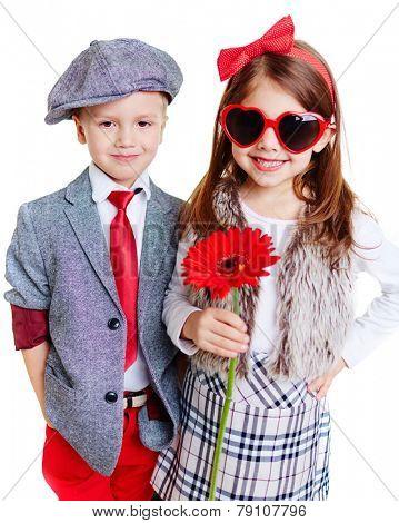 Portrait of cool well-dressed children