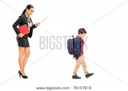 Female teacher disciplining a schoolboy isolated on white background
